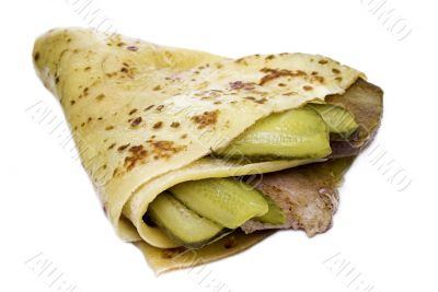 meat with cucumber enfolded in pancake
