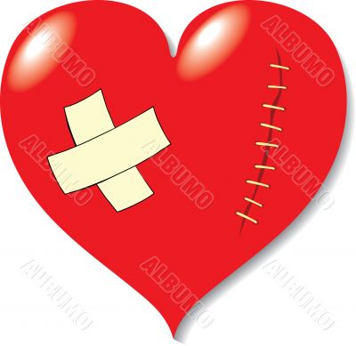 Wound on heart from love.