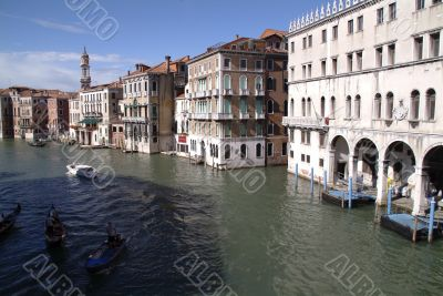 Bridgetop view of the grand canal venice