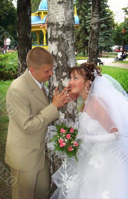 just married newlyweds