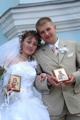 Wedding Couple with Holy Icons