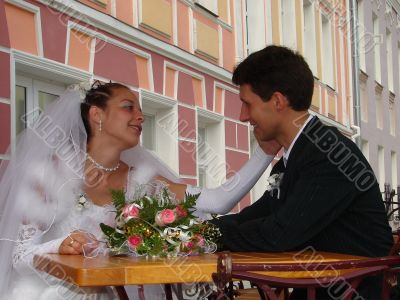Young happy adult married newlyweds couple