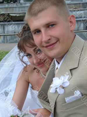 Young happy adult just married newlyweds