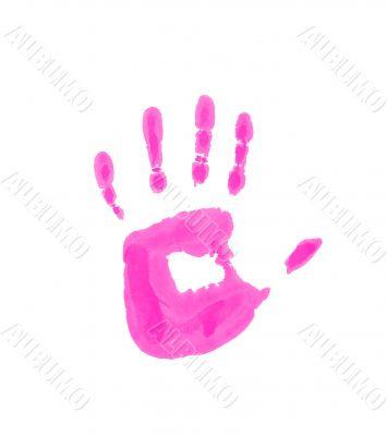 Child pink handprint