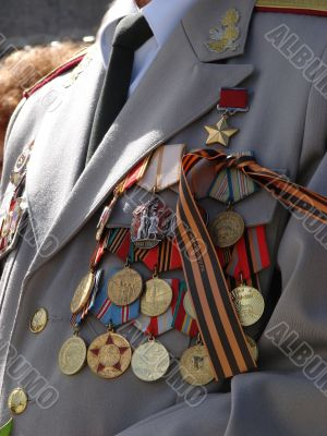 Soviet military awards on veteran officer chest