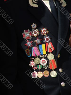 Soviet military awards on veteran officer chest