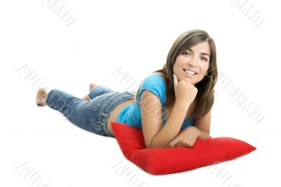 Beautiful woman with a soft cushion