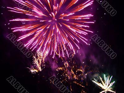 burning ball, fireworks