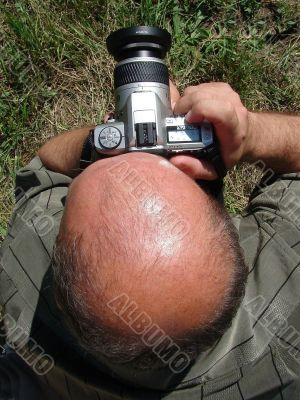 Bald Outdoor Photographer on the mission