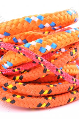 tow colorful ropes isolated