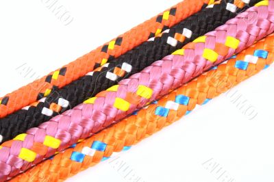 four colorful ropes isolated on white