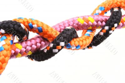 close-ups of colorful ropes isolated on white