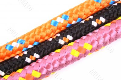 three colorful ropes isolated on white