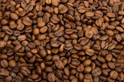 Roasted grains of fragrant black coffee