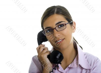 Speaking at the telephone