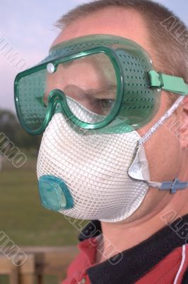 dust mask respirator safety goggles