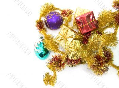 Christmas ornaments on snow