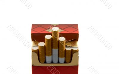 Full pack of cigarettes on a white background