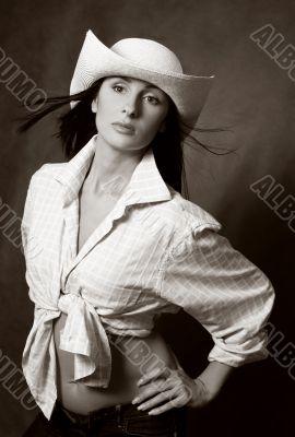 Beautiful brunette in hat
