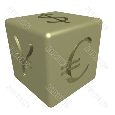 Gold cube with the image of currency