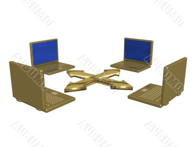 Computer network from laptops. 3d image.