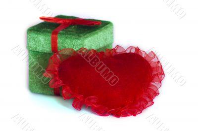 Velvet heart with present