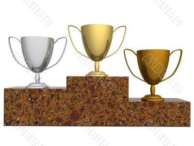 Cups for winners of competitions. the 3D  image.
