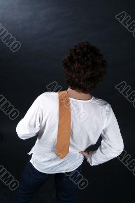 yellow tie on shoulder