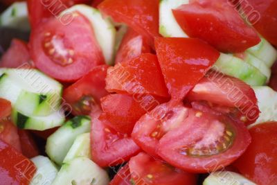 Salad from tomatos and cucumbers