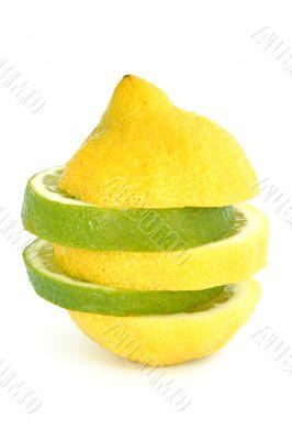 lime lemon on white