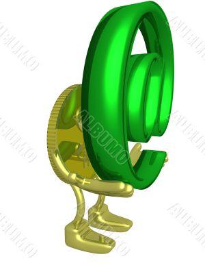 Gold dollar holding symbol . 3D image.