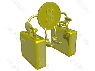 Gold dollar carry two suitcases. 3D image.