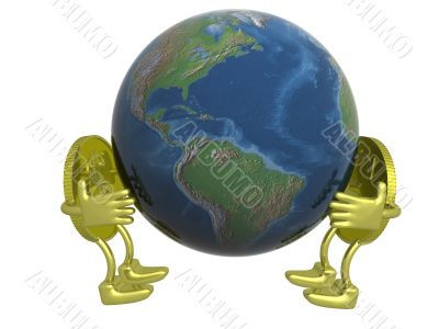Dollar and euro holding the globe. 3D image.