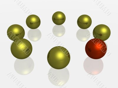 Allocated from of some a red sphere