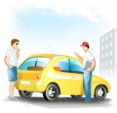 Man choose a used car