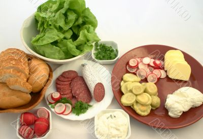 Everything ready to prepare sandwiches