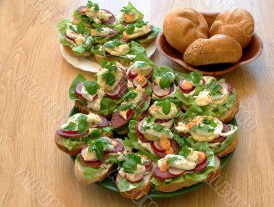 Tasty sandwiches in kitchen