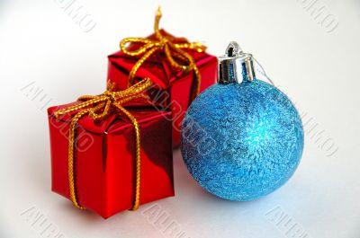 Christmas gift boxes and bulb