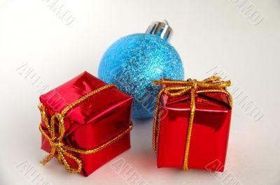 Gift boxes and christmas bulb