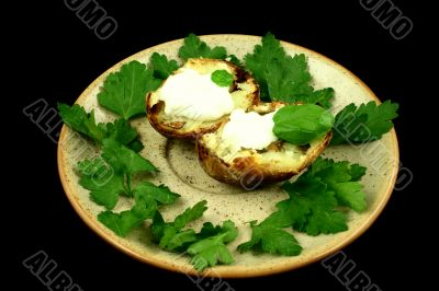 Baked potatoes served