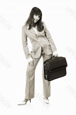 Happy Businesswoman with a briefcase