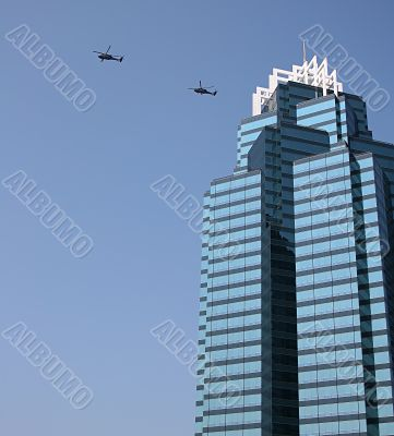 Blue Building and Choppers