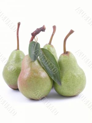 four green pears