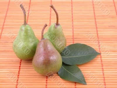 three green pears