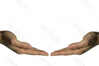Two hands touching (left hand)
