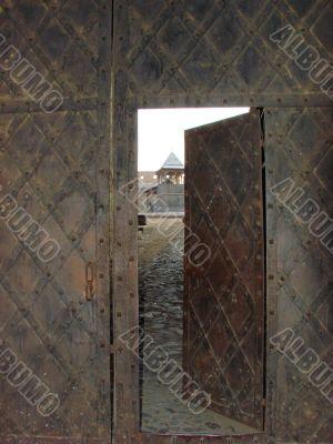 Aged door lock on wooden door