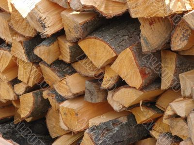 Butt side of wooden logs stack