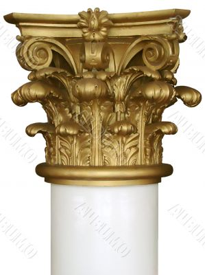 Isolated decorated column top pilaster