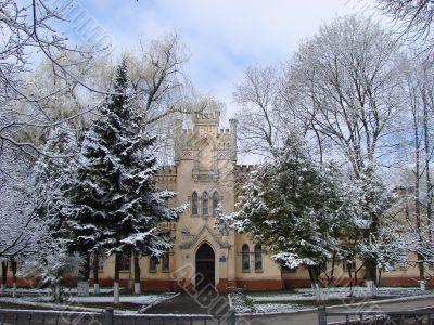 Snowy winter town square cityscape