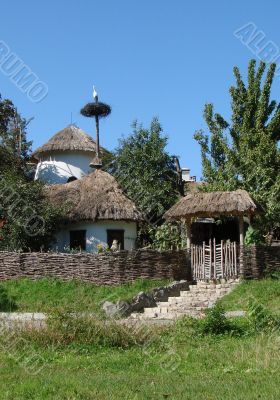 Peaceful Ancient Ukrainian Village Yard